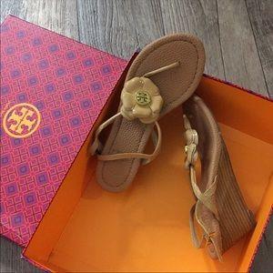 Tory Burch Camellia Leather Tan Heel Sandal